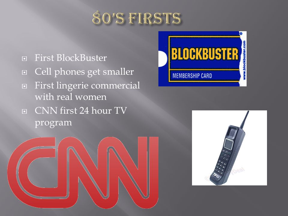 First BlockBuster Cell phones get smaller First lingerie commercial with real women CNN first 24 hour TV program