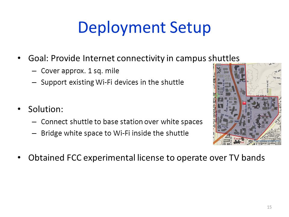 Deployment Setup Goal: Provide Internet connectivity in campus shuttles – Cover approx. 1 sq. mile – Support existing Wi-Fi devices in the shuttle Sol