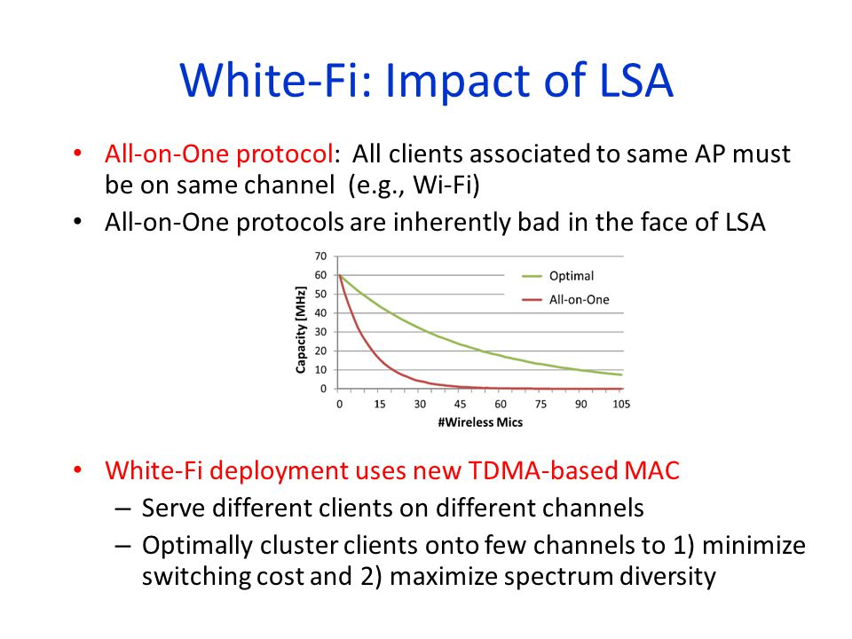 All-on-One protocol: All clients associated to same AP must be on same channel (e.g., Wi-Fi) All-on-One protocols are inherently bad in the face of LS