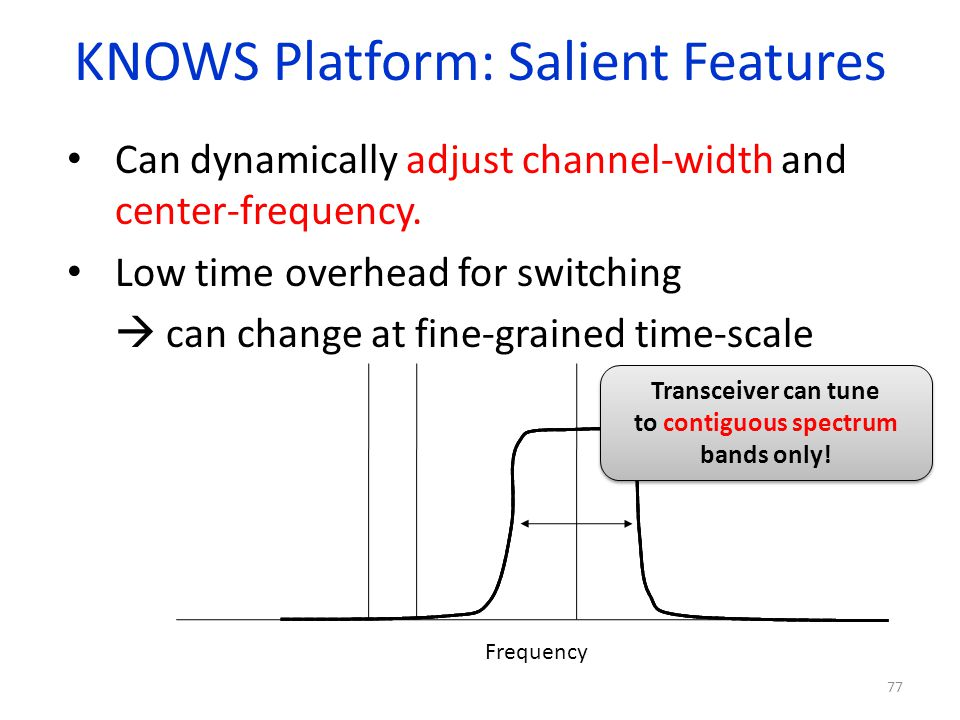 KNOWS Platform: Salient Features Can dynamically adjust channel-width and center-frequency. Low time overhead for switching can change at fine-grained