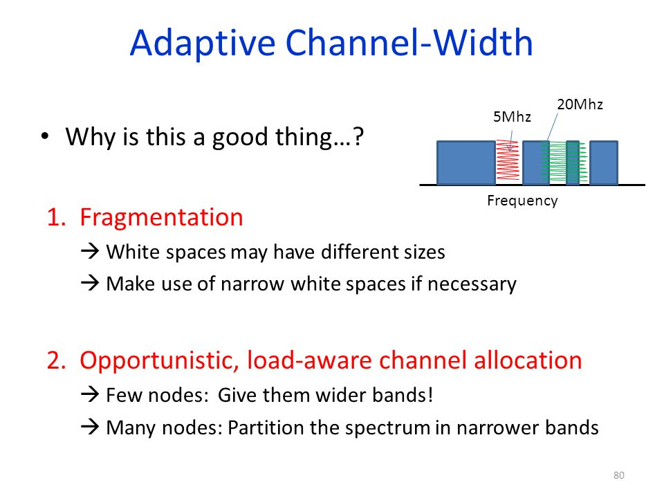 Adaptive Channel-Width Why is this a good thing…? 1.Fragmentation White spaces may have different sizes Make use of narrow white spaces if necessary 2
