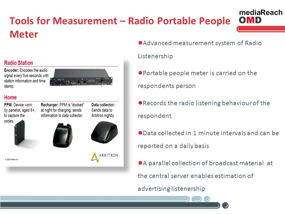 Tools for Measurement – Radio Portable People Meter Advanced measurement system of Radio Listenership Portable people meter is carried on the respondents person Records the radio listening behaviour of the respondent Data collected in 1 minute intervals and can be reported on a daily basis A parallel collection of broadcast material at the central server enables estimation of advertising listenership