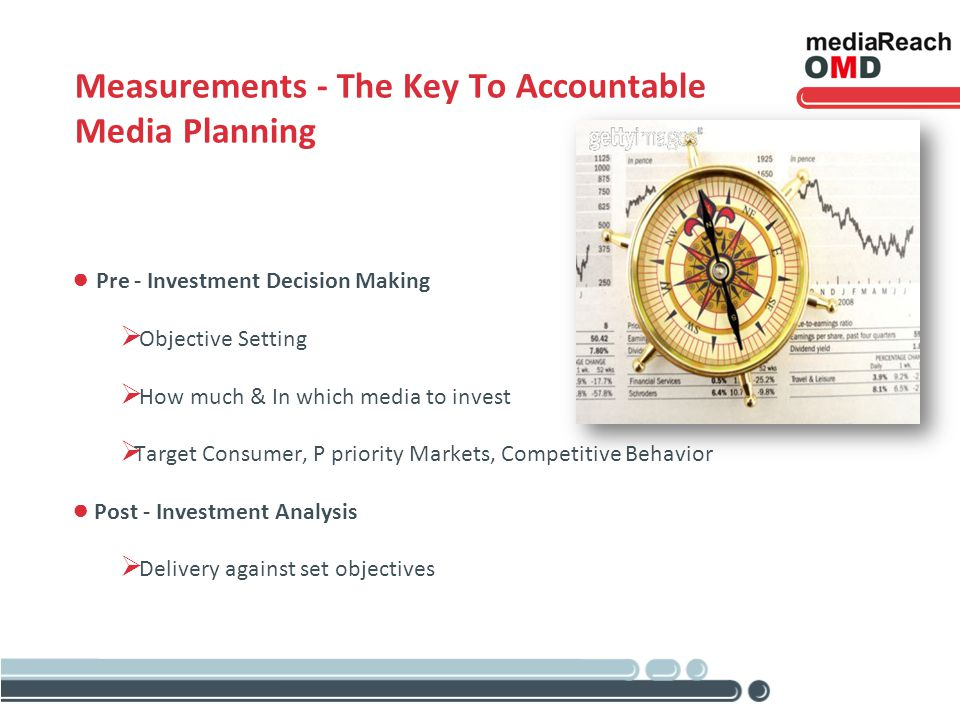 Measurements - The Key To Accountable Media Planning Pre - Investment Decision Making Objective Setting How much & In which media to invest Target Consumer, P priority Markets, Competitive Behavior Post - Investment Analysis Delivery against set objectives