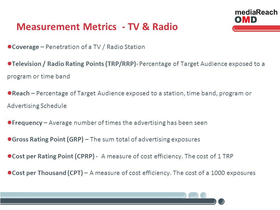 Measurement Metrics - TV & Radio Coverage – Penetration of a TV / Radio Station Television / Radio Rating Points (TRP/RRP)- Percentage of Target Audie