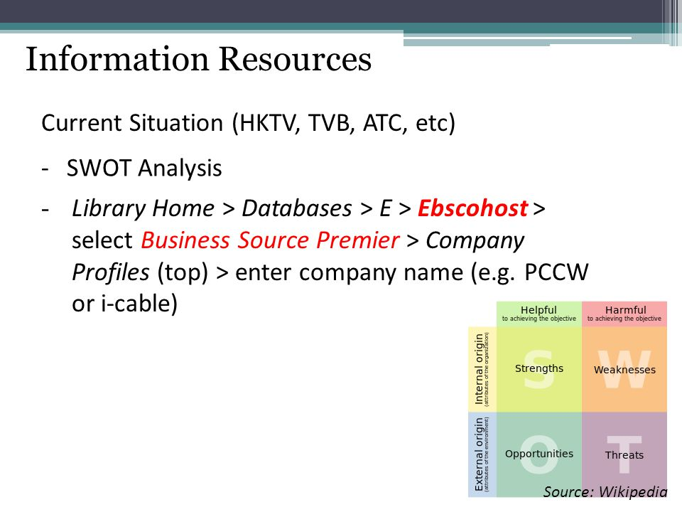 Information Resources Current Situation (HKTV, TVB, ATC, etc) -SWOT Analysis - Library Home > Databases > E > Ebscohost > select Business Source Premi