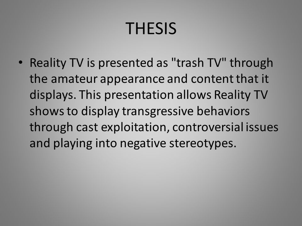 Detailed Analysis of Reality TV Industry What is Reality TV.