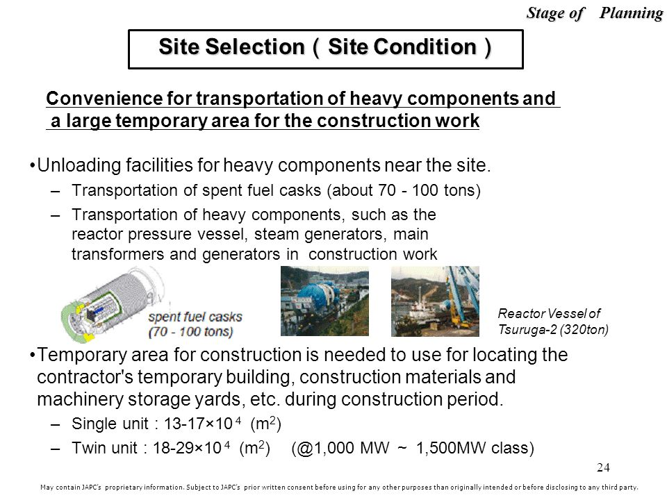 24 Unloading facilities for heavy components near the site.