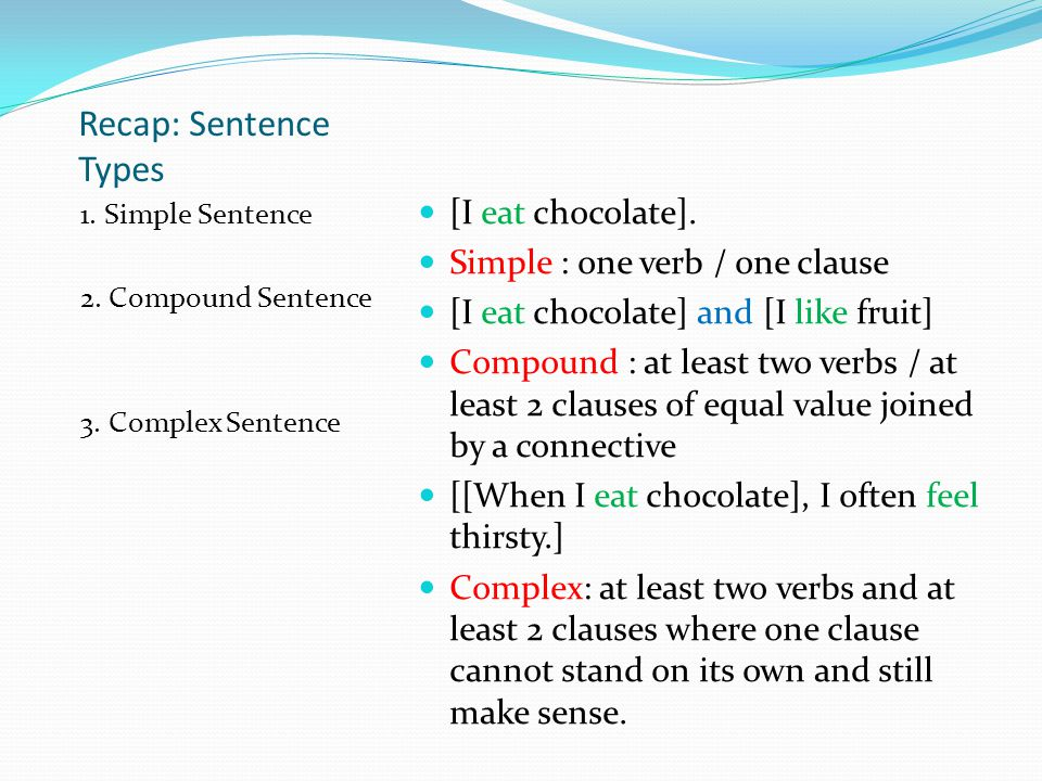 Recap: Sentence Types 1. Simple Sentence 2. Compound Sentence 3.