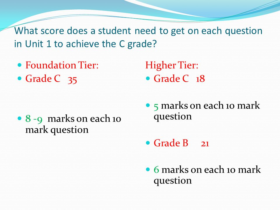 What score does a student need to get on each question in Unit 1 to achieve the C grade.