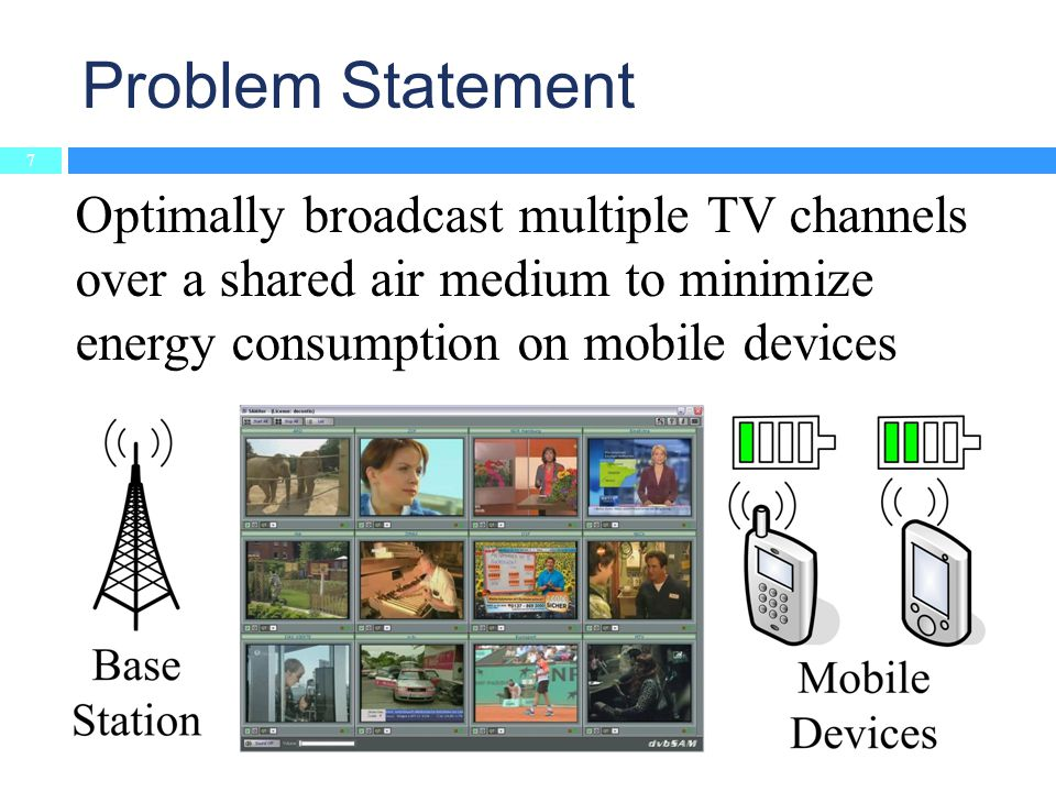 Problem Statement 7 Optimally broadcast multiple TV channels over a shared air medium to minimize energy consumption on mobile devices