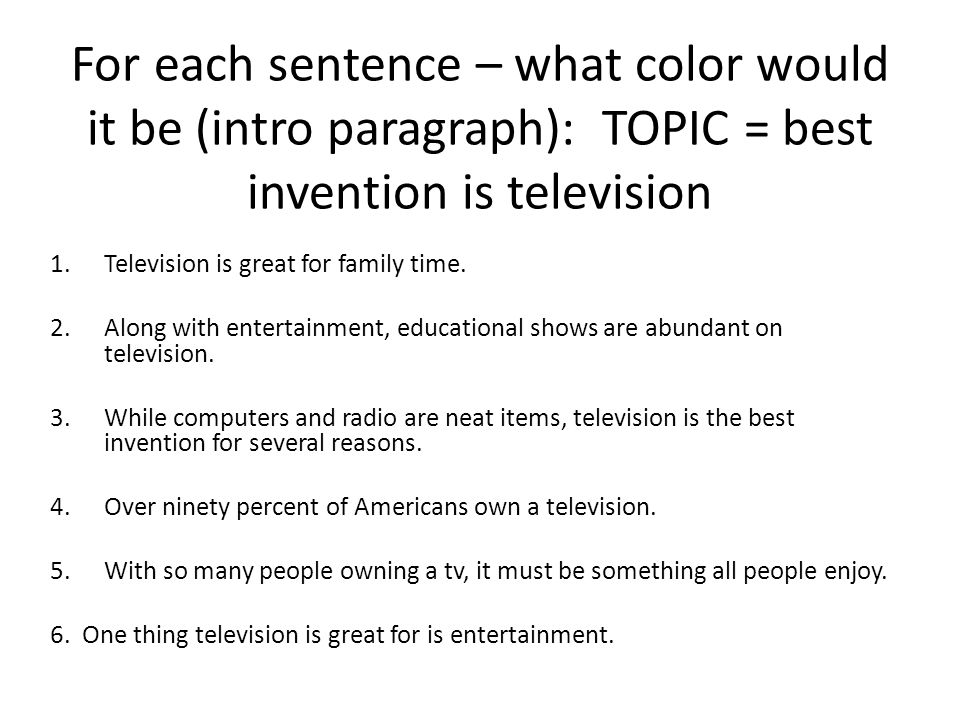 For each sentence – what color would it be (intro paragraph): TOPIC = best invention is television 1.Television is great for family time.