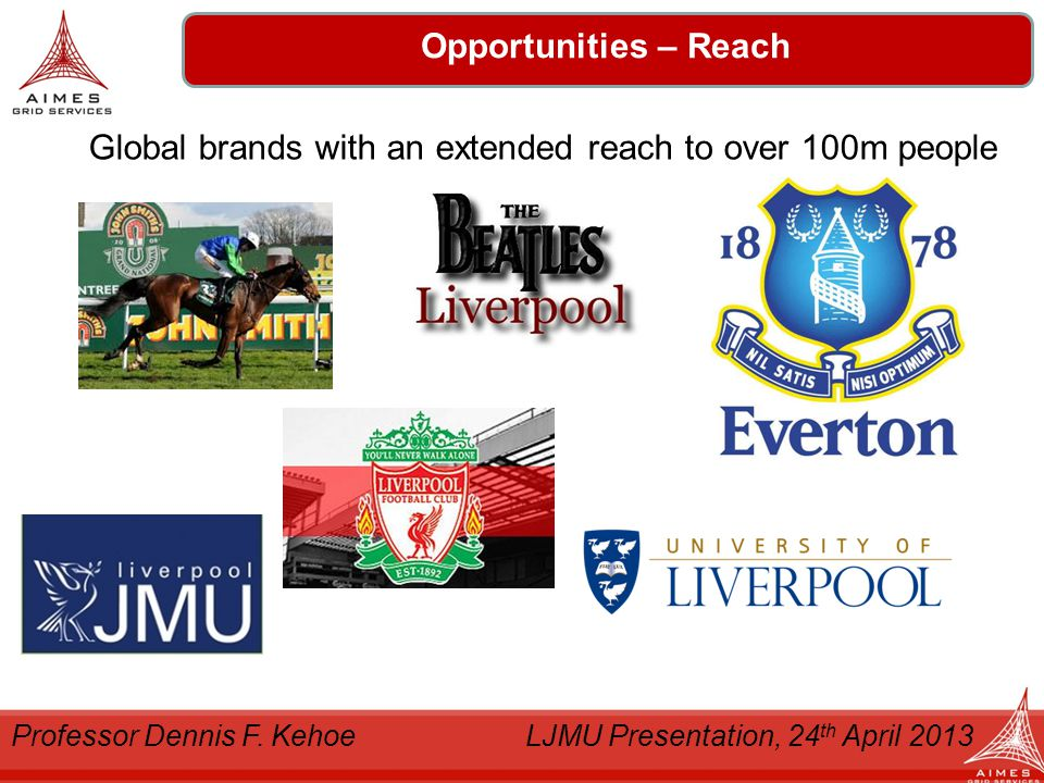 Denholm Logistics Opportunities – Reach Global brands with an extended reach to over 100m people Professor Dennis F.