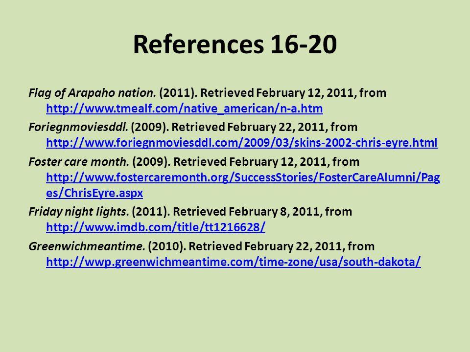 References 16-20 Flag of Arapaho nation. (2011). Retrieved February 12, 2011, from http://www.tmealf.com/native_american/n-a.htm http://www.tmealf.com
