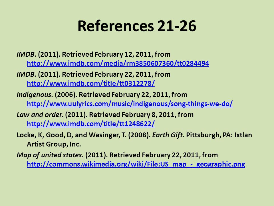 References 21-26 IMDB. (2011). Retrieved February 12, 2011, from http://www.imdb.com/media/rm3850607360/tt0284494 http://www.imdb.com/media/rm38506073