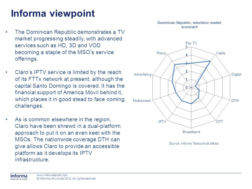 Informa viewpoint Source: Informa Telecoms & Media Dominican Republic, television market scorecard www.informatandm.com © Informa UK Limited 2012.