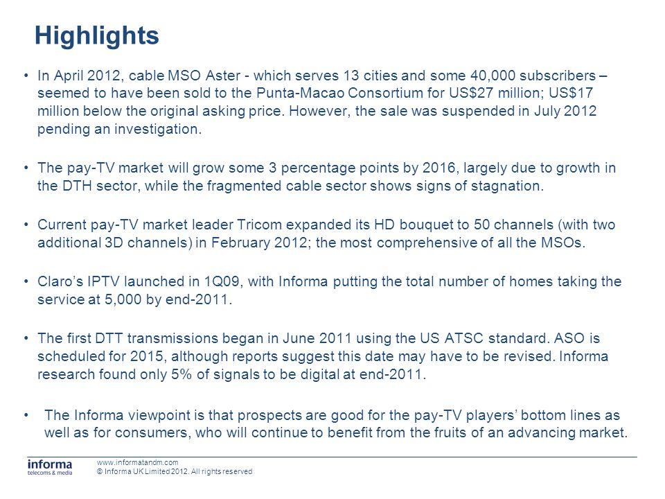 Next-generation TV - market developments DateDevelopment August 2012BBC Worldwide HD is added to Winds HD bouquet.