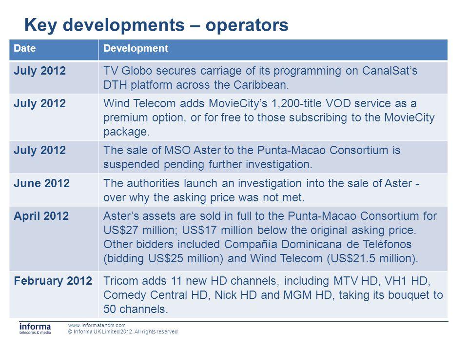 Key developments – operators DateDevelopment July 2012TV Globo secures carriage of its programming on CanalSats DTH platform across the Caribbean. Jul