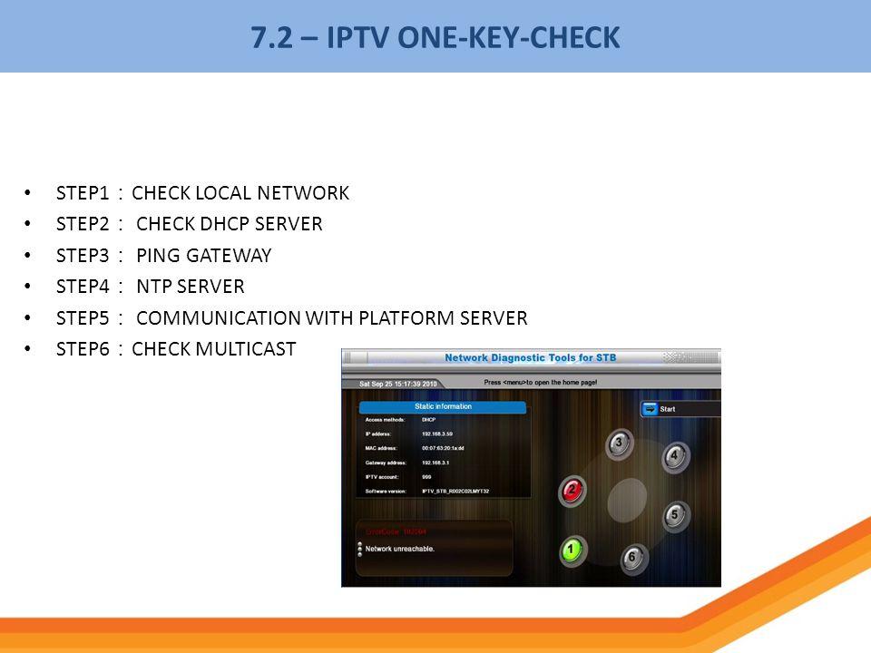 STEP1 CHECK LOCAL NETWORK STEP2 CHECK DHCP SERVER STEP3 PING GATEWAY STEP4 NTP SERVER STEP5 COMMUNICATION WITH PLATFORM SERVER STEP6 CHECK MULTICAST 7