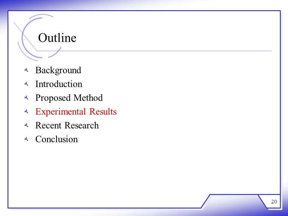 Outline Background Introduction Proposed Method Experimental Results Recent Research Conclusion 20