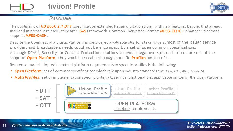 11 BROADBAND MEDIA DELIVERY Italian Platform goes OTT-TV tivùon! Profile 11 Rationale The publishing of HD Book 2.1 DTT specification extended Italian