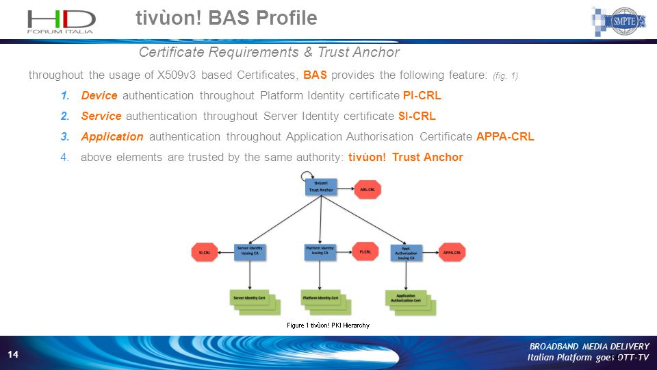 14 BROADBAND MEDIA DELIVERY Italian Platform goes OTT-TV tivùon! BAS Profile 14 Certificate Requirements & Trust Anchor throughout the usage of X509v3