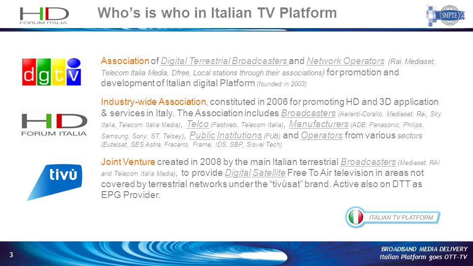 14 BROADBAND MEDIA DELIVERY Italian Platform goes OTT-TV tivùon.