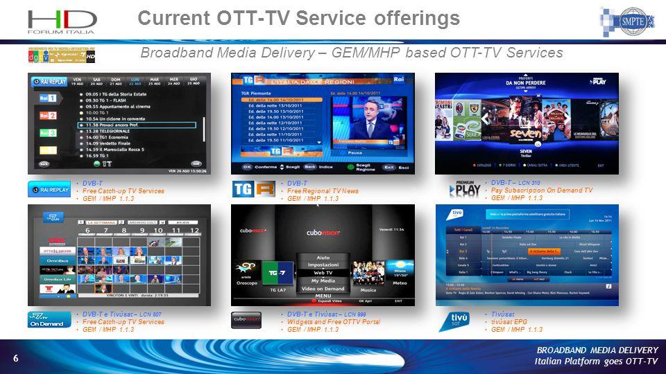 6 BROADBAND MEDIA DELIVERY Italian Platform goes OTT-TV Current OTT-TV Service offerings Broadband Media Delivery – GEM/MHP based OTT-TV Services DVB-T Free Regional TV News GEM / MHP 1.1.3 DVB-T e Tivùsat – LCN 999 Widgets and Free OTTV Portal GEM / MHP 1.1.3 Tivùsat tivùsat EPG GEM / MHP 1.1.3 DVB-T Free Catch-up TV Services GEM / MHP 1.1.3 DVB-T e Tivùsat – LCN 807 Free Catch-up TV Services GEM / MHP 1.1.3 DVB-T – LCN 310 Pay Subscription On Demand TV GEM / MHP 1.1.3