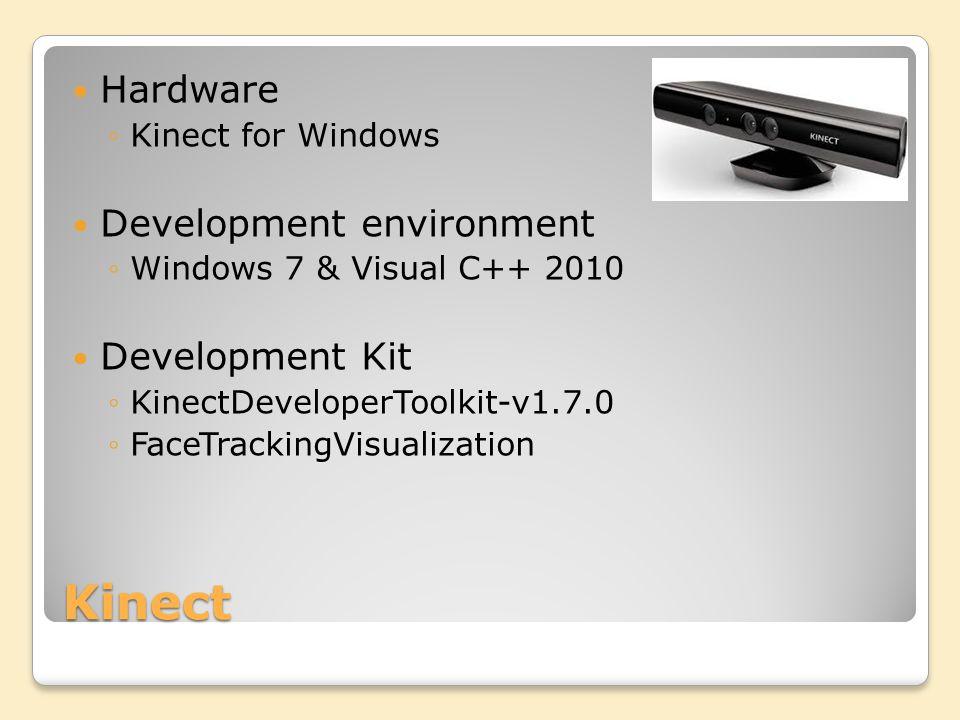 Kinect Hardware Kinect for Windows Development environment Windows 7 & Visual C++ 2010 Development Kit KinectDeveloperToolkit-v1.7.0 FaceTrackingVisualization