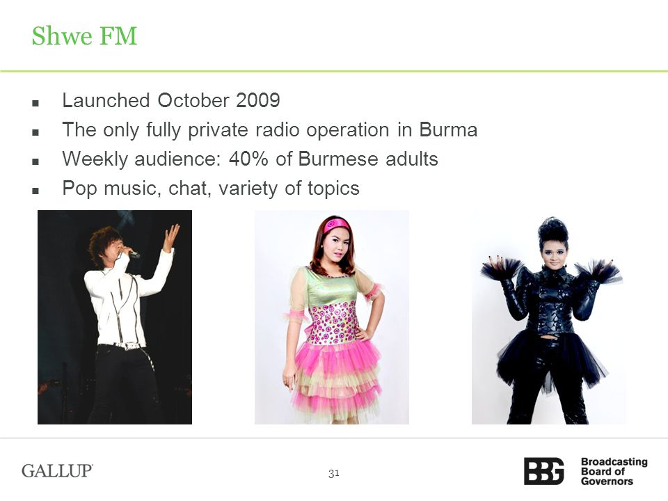 Shwe FM Launched October 2009 The only fully private radio operation in Burma Weekly audience: 40% of Burmese adults Pop music, chat, variety of topics 31