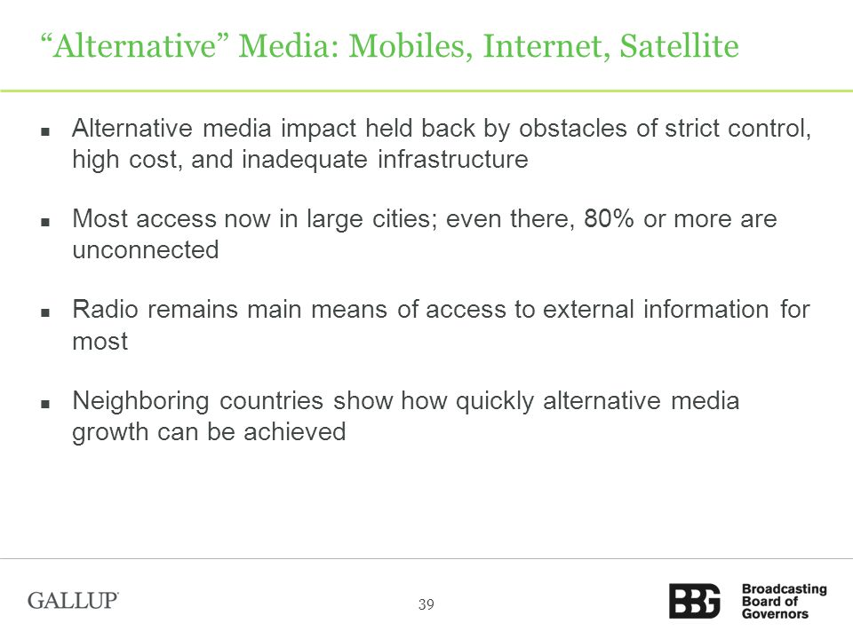 Alternative Media: Mobiles, Internet, Satellite Alternative media impact held back by obstacles of strict control, high cost, and inadequate infrastructure Most access now in large cities; even there, 80% or more are unconnected Radio remains main means of access to external information for most Neighboring countries show how quickly alternative media growth can be achieved 39