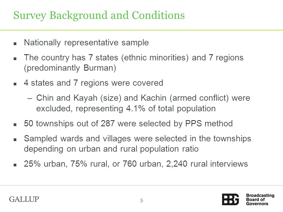 Survey Background and Conditions Nationally representative sample The country has 7 states (ethnic minorities) and 7 regions (predominantly Burman) 4 states and 7 regions were covered –Chin and Kayah (size) and Kachin (armed conflict) were excluded, representing 4.1% of total population 50 townships out of 287 were selected by PPS method Sampled wards and villages were selected in the townships depending on urban and rural population ratio 25% urban, 75% rural, or 760 urban, 2,240 rural interviews 5