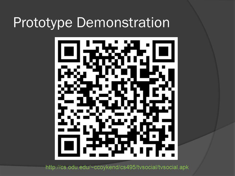 Prototype Demonstration http://cs.odu.edu/~ccoykend/cs495/tvsocial/tvsocial.apk