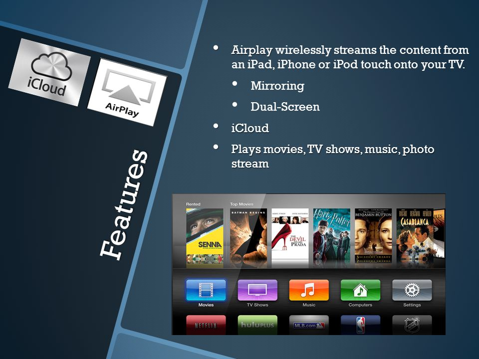 Features Airplay Airplay wirelessly streams the content from an iPad, iPhone or iPod touch onto your TV.
