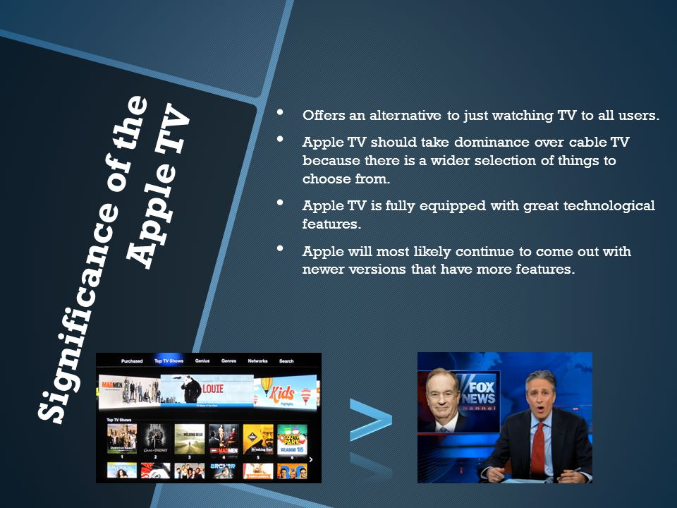 Significance of the Apple TV Offers an alternative to just watching TV to all users.