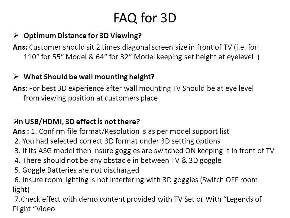 FAQ for 3D Optimum Distance for 3D Viewing.