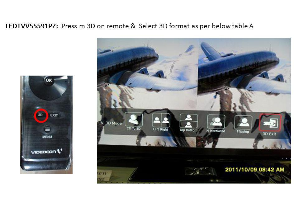 LEDTVV55591PZ: Press m 3D on remote & Select 3D format as per below table A