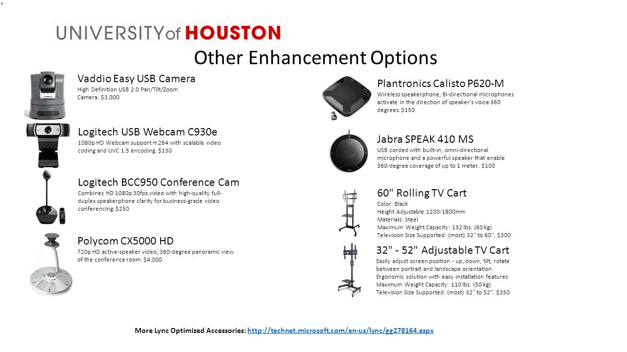 Other Enhancement Options Vaddio Easy USB Camera High Definition USB 2.0 Pan/Tilt/Zoom Camera.