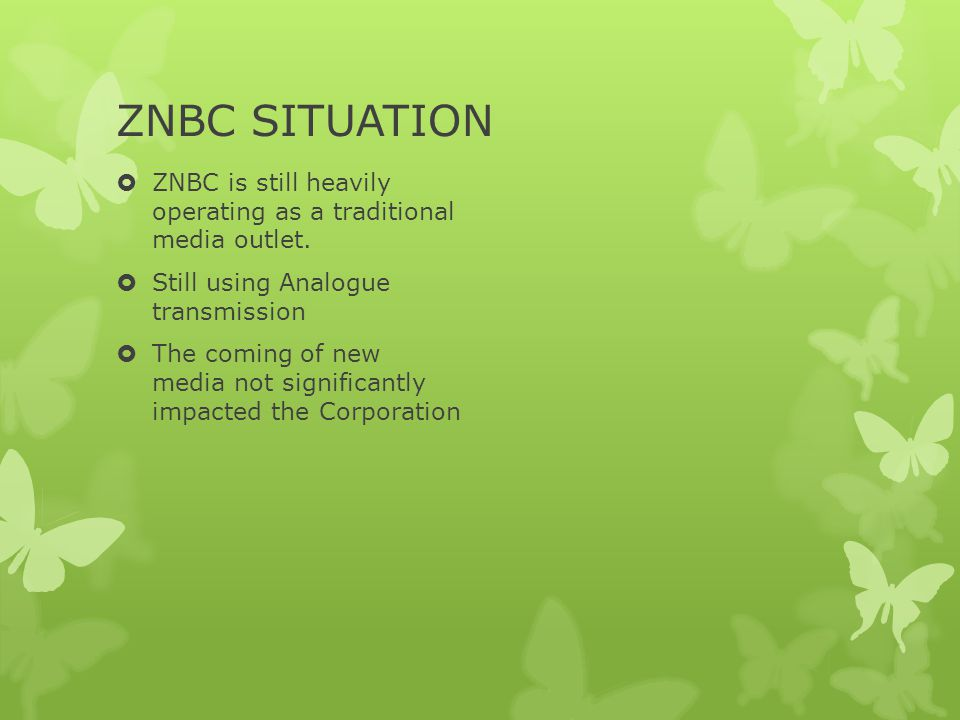 WAY FORWARD ZNBC is preparing for the Digital Migration (SADC Deadline is December, 2013) ZNBC has presence on Facebook and Twitter with a following of close to 40,000 people Platform used for external communication and feedback channel Digital Migration will provide a platform for greater use of new media
