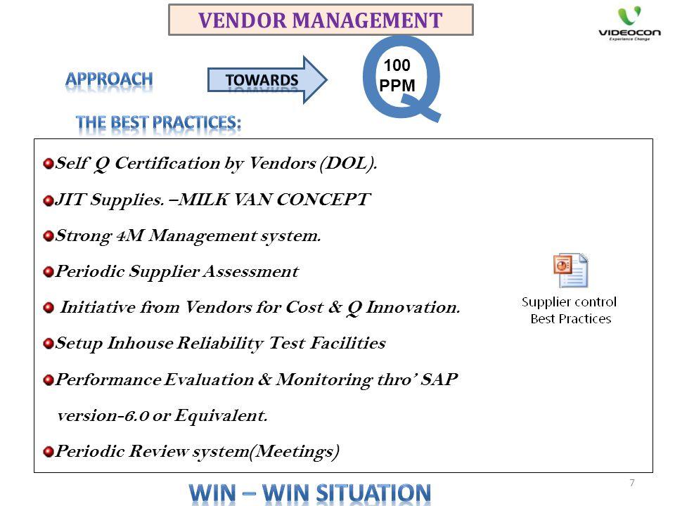 VENDOR MANAGEMENT Self Q Certification by Vendors (DOL). JIT Supplies. –MILK VAN CONCEPT Strong 4M Management system. Periodic Supplier Assessment Ini