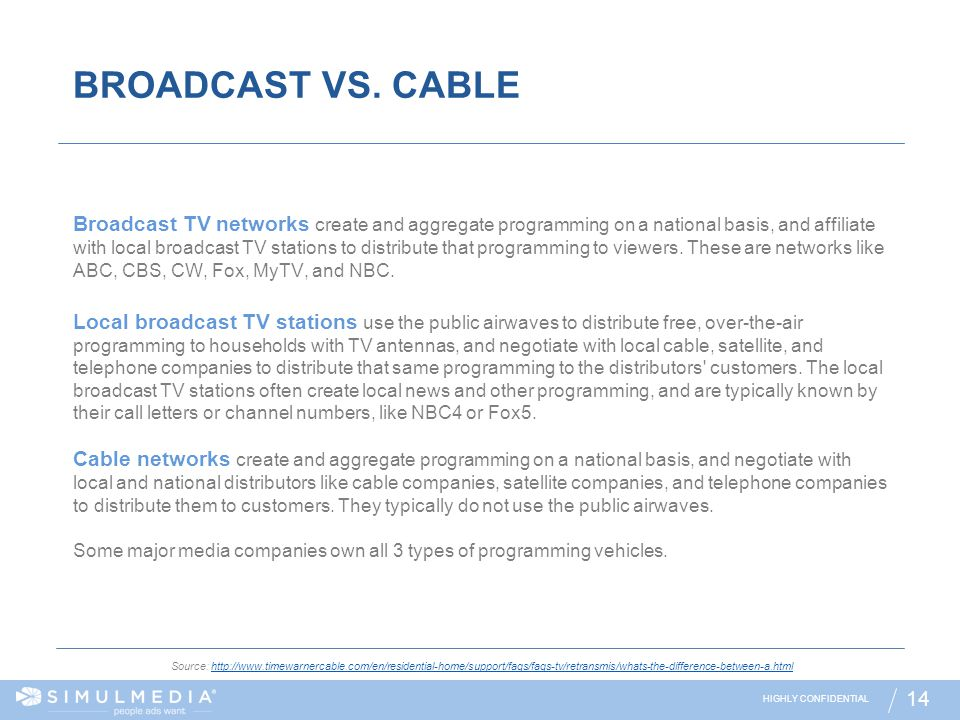 HIGHLY CONFIDENTIAL 14 BROADCAST VS. CABLE Source: http://www.timewarnercable.com/en/residential-home/support/faqs/faqs-tv/retransmis/whats-the-differ