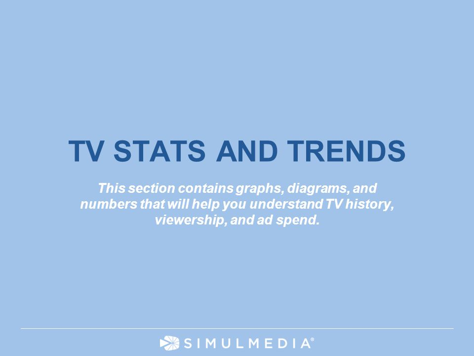 HIGHLY CONFIDENTIAL 3 TV STATS AND TRENDS This section contains graphs, diagrams, and numbers that will help you understand TV history, viewership, an