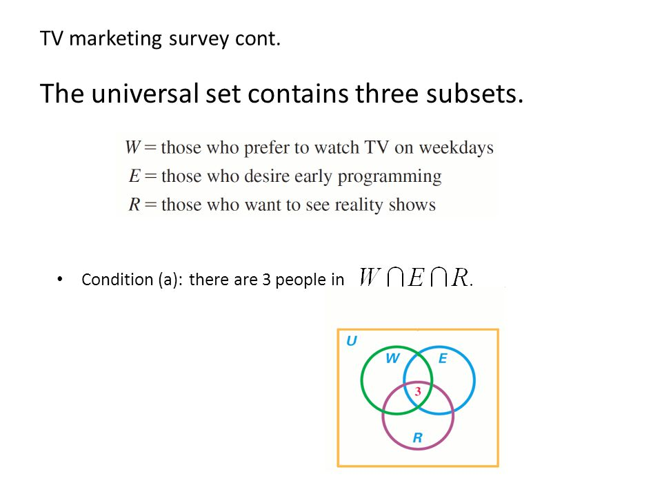 TV marketing survey cont. Condition (b): there are 14 people in