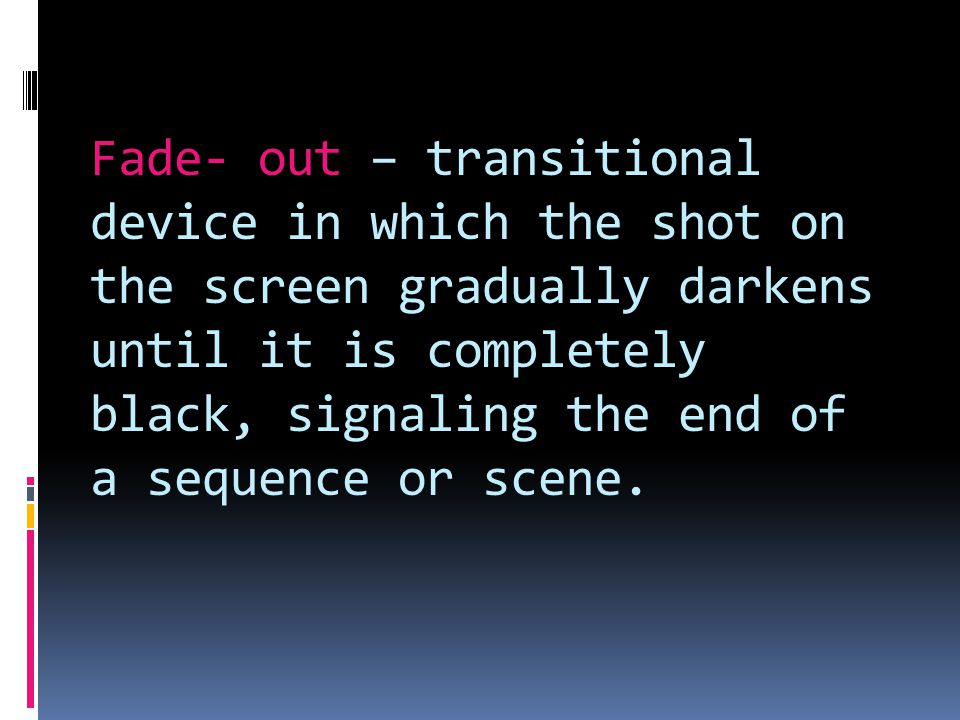 Pace – amount of time each shot stays on the screen and the rhythm that is created by the transitions between shots; quick cuts to create a fast pace.