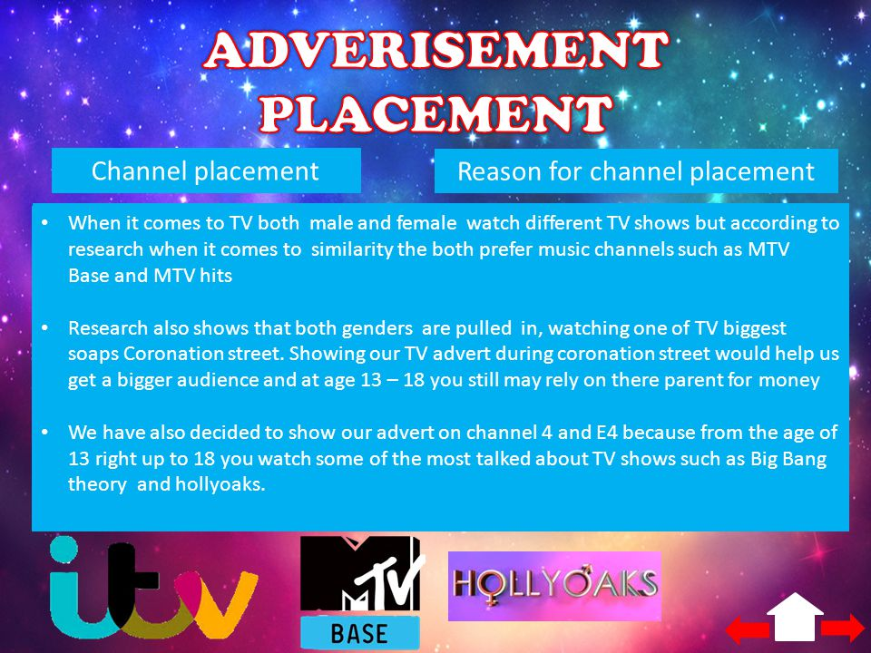 Channel placementReason for channel placement E4 - November 18 th – 24 th The big bang theory (Thu 8:30pm) pulled in 2,143000 viewers Holly oaks (Mon