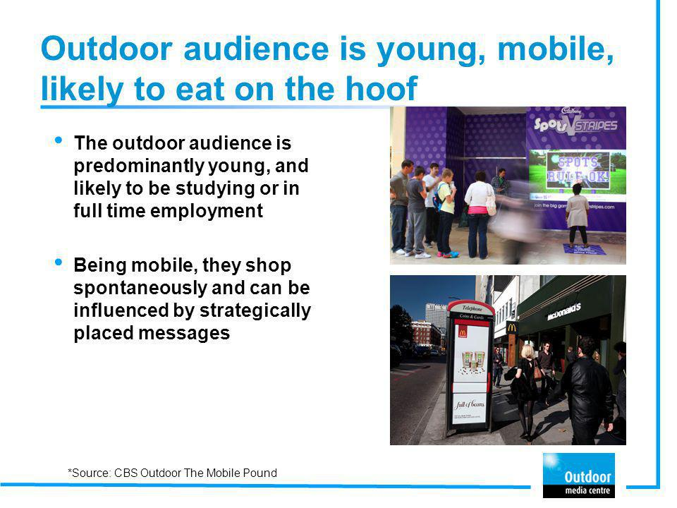 Outdoor audience is young, mobile, likely to eat on the hoof The outdoor audience is predominantly young, and likely to be studying or in full time em