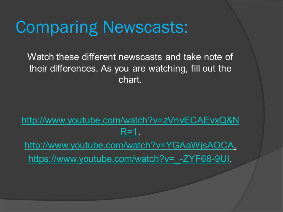 Comparing Newscasts: Watch these different newscasts and take note of their differences.