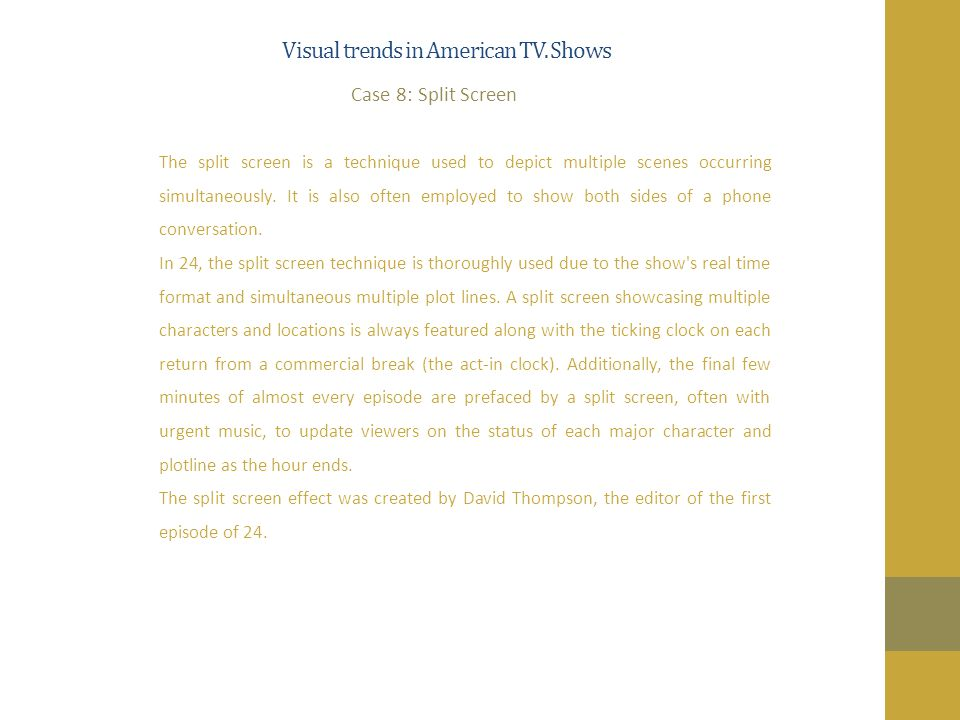 Visual trends in American TV.