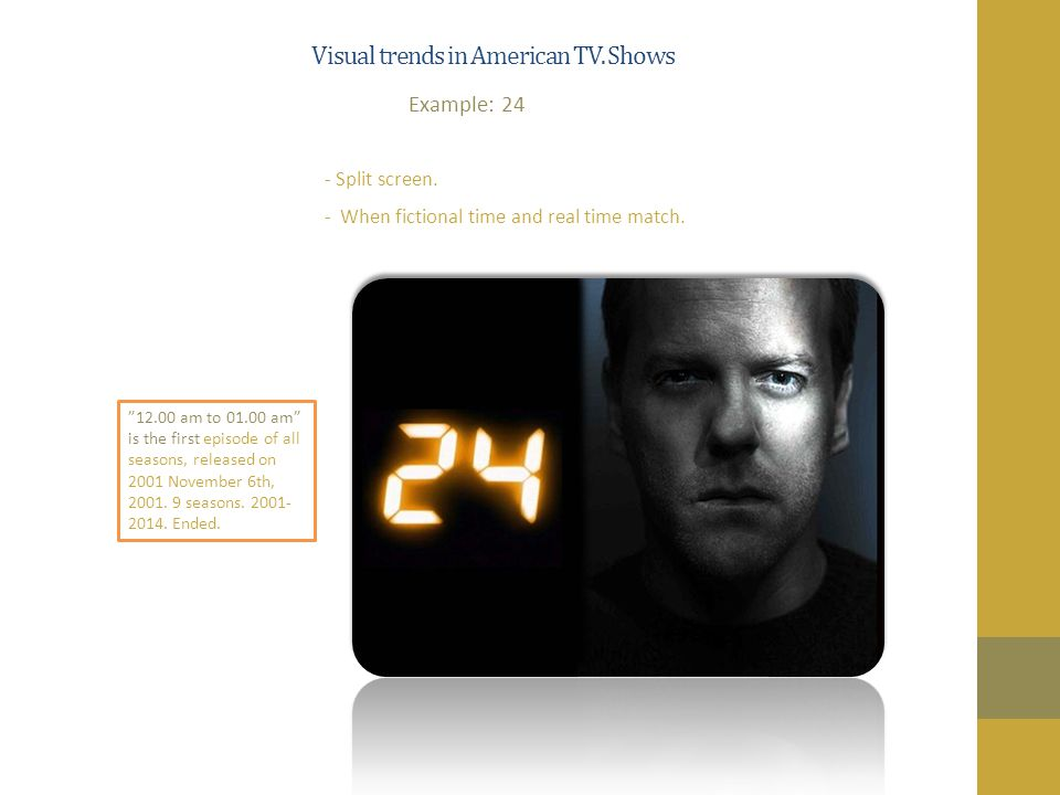 Visual trends in American TV. Shows - Split screen.