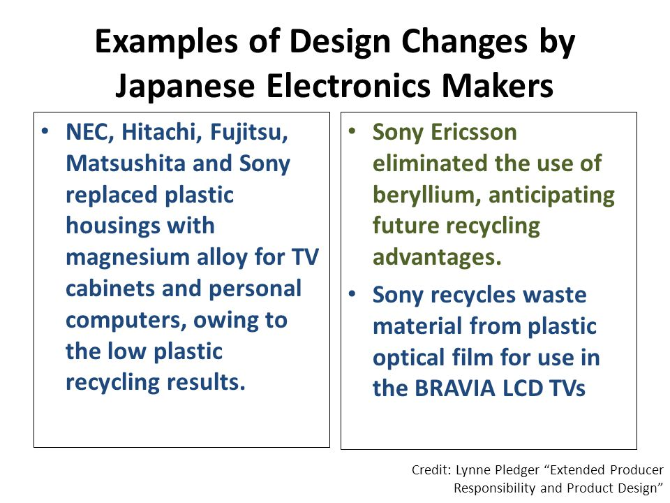 Examples of Design Changes by Japanese Electronics Makers NEC, Hitachi, Fujitsu, Matsushita and Sony replaced plastic housings with magnesium alloy for TV cabinets and personal computers, owing to the low plastic recycling results.