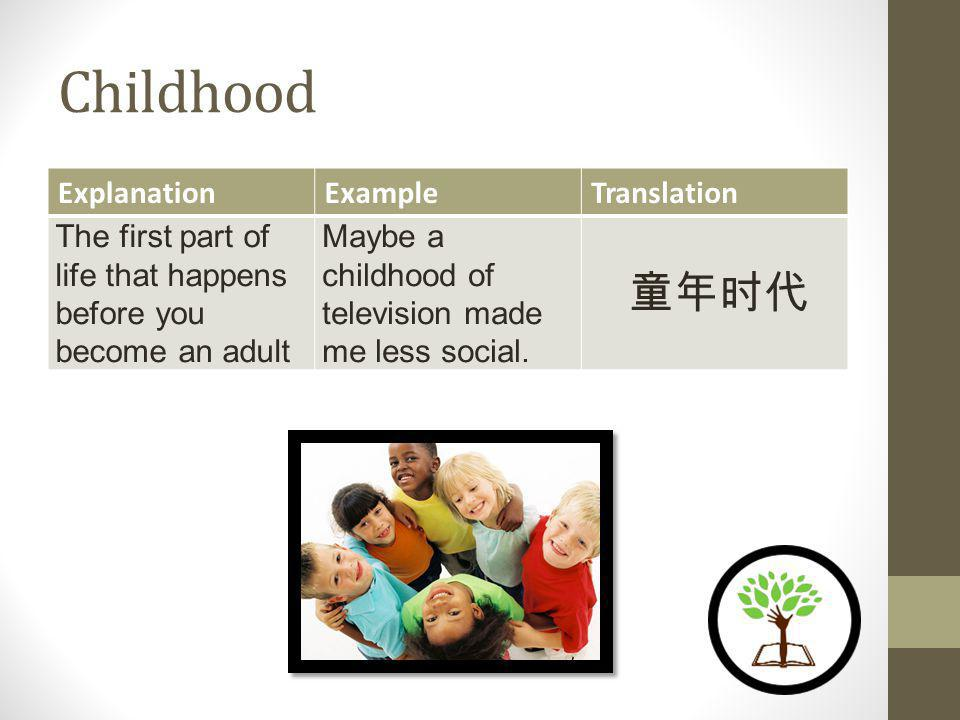 Childhood ExplanationExampleTranslation The first part of life that happens before you become an adult Maybe a childhood of television made me less social.
